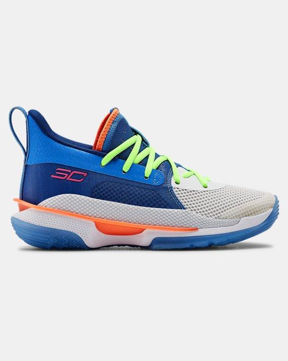 Kids' Grade School UA Curry 7 Basketball Shoes, Blue, pdpMainDesktop image number 0