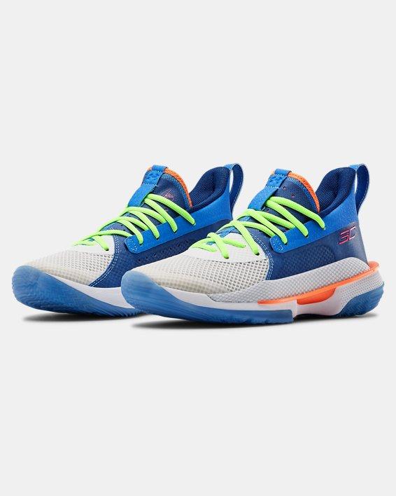 Kids' Grade School UA Curry 7 Basketball Shoes, Blue, pdpMainDesktop image number 3