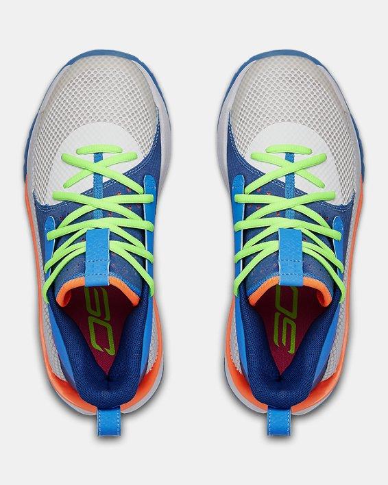 Kids' Grade School UA Curry 7 Basketball Shoes, Blue, pdpMainDesktop image number 2