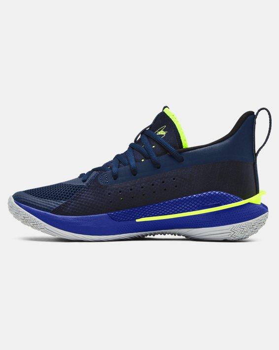 Kids' Grade School UA Curry 7 Basketball Shoes, Navy, pdpMainDesktop image number 1