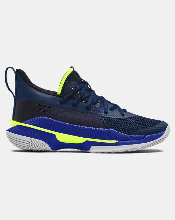 Kids' Grade School UA Curry 7 Basketball Shoes, Navy, pdpMainDesktop image number 0