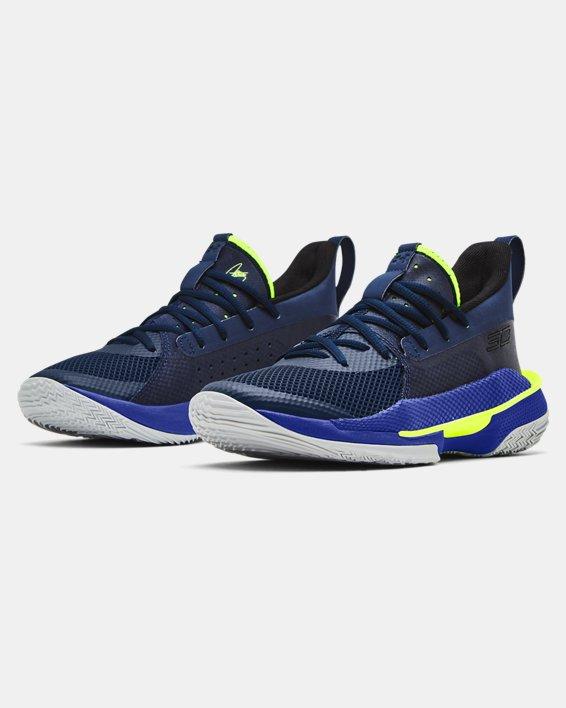 Kids' Grade School UA Curry 7 Basketball Shoes, Navy, pdpMainDesktop image number 3