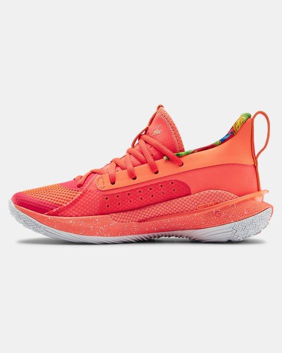 Kids' Grade School UA Curry 7 Basketball Shoes, Red, pdpMainDesktop image number 1