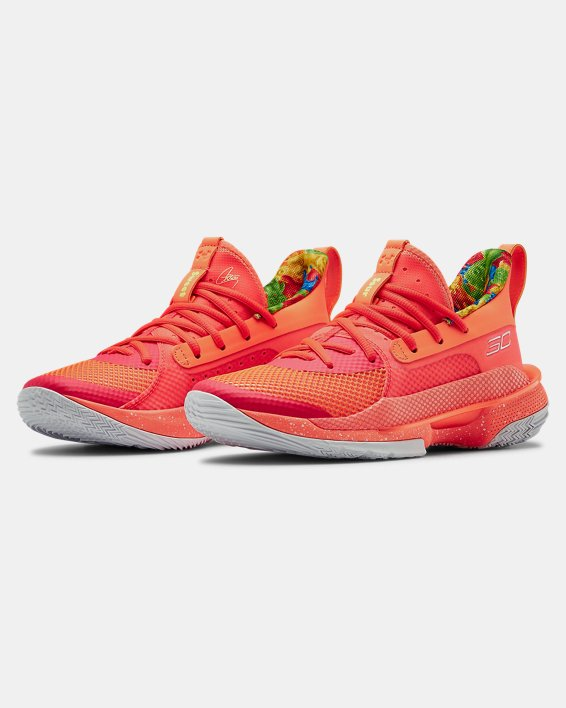Kids' Grade School UA Curry 7 Basketball Shoes, Red, pdpMainDesktop image number 3