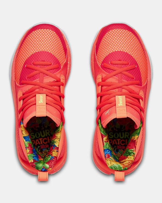 Kids' Grade School UA Curry 7 Basketball Shoes, Red, pdpMainDesktop image number 2