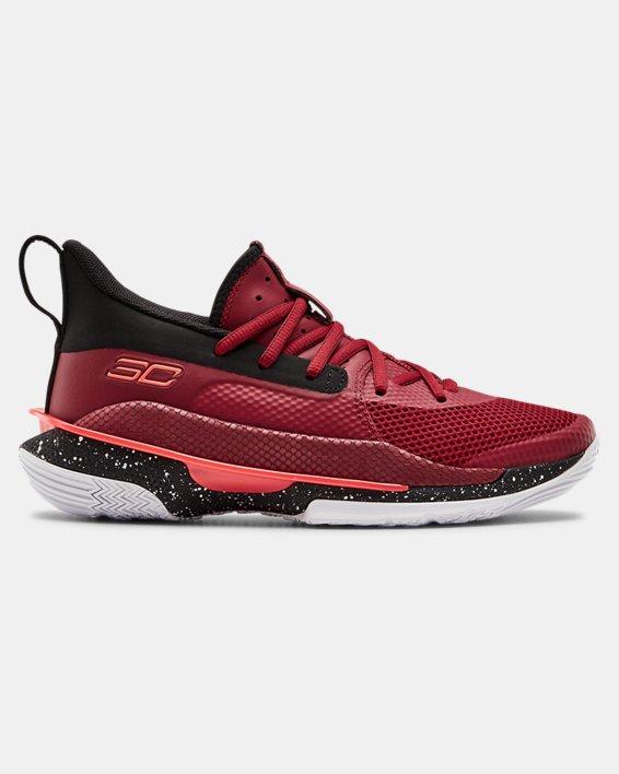 Kids' Grade School UA Curry 7 Basketball Shoes, Red, pdpMainDesktop image number 0