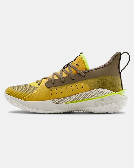 Kids' Grade School UA Curry 7 Basketball Shoes, Yellow, pdpMainDesktop image number 1