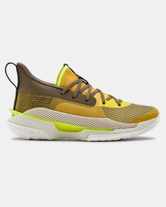 Kids' Grade School UA Curry 7 Basketball Shoes, Yellow, pdpMainDesktop image number 0
