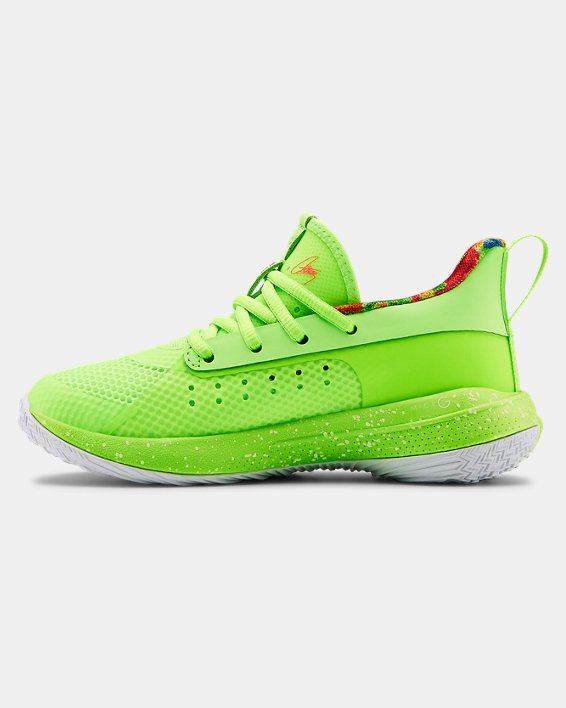 Kids' Pre-School UA Curry 7 Basketball Shoes, Green, pdpMainDesktop image number 1