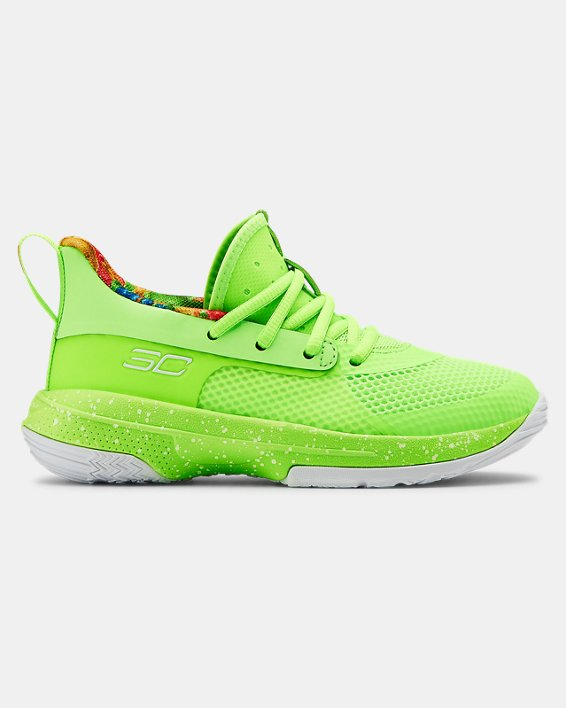 Kids' Pre-School UA Curry 7 Basketball Shoes, Green, pdpMainDesktop image number 0