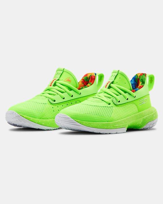 Kids' Pre-School UA Curry 7 Basketball Shoes, Green, pdpMainDesktop image number 3