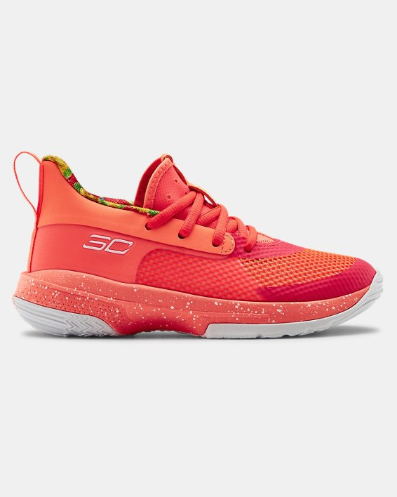 Kids' Pre-School UA Curry 7 Basketball Shoes, Red, pdpMainDesktop image number 0