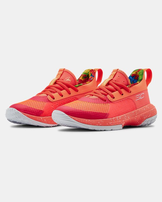 Kids' Pre-School UA Curry 7 Basketball Shoes, Red, pdpMainDesktop image number 3