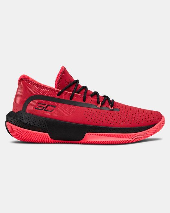Grade School UA SC 3ZER0 III Basketball Shoes, Red, pdpMainDesktop image number 0