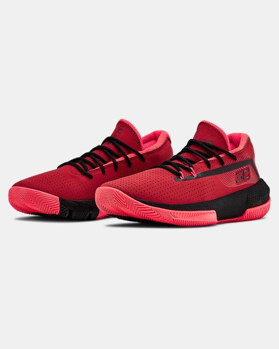 Grade School UA SC 3ZER0 III Basketball Shoes, Red, pdpMainDesktop image number 4
