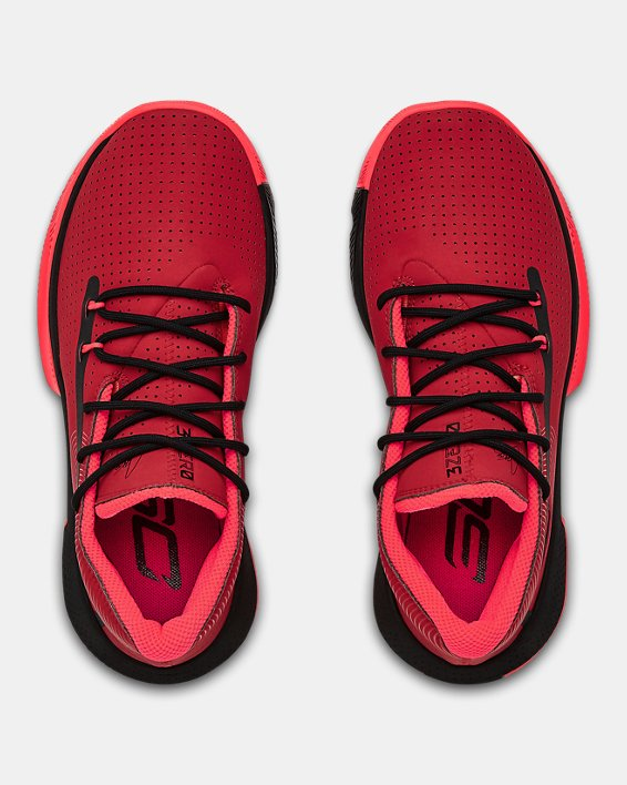 Grade School UA SC 3ZER0 III Basketball Shoes, Red, pdpMainDesktop image number 3