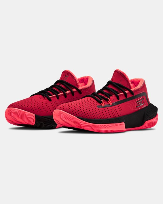 Pre-School UA SC 3ZER0 III Basketball Shoes, Red, pdpMainDesktop image number 4