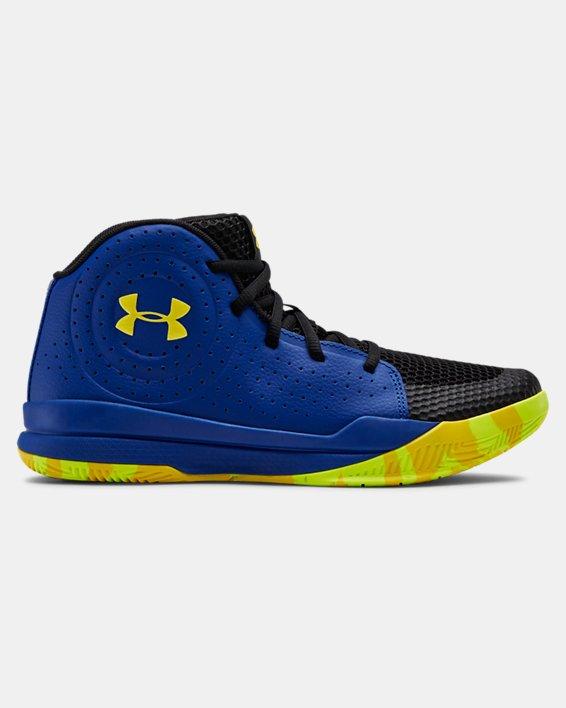 Grade School UA Jet 2019 Basketball Shoes, Blue, pdpMainDesktop image number 0