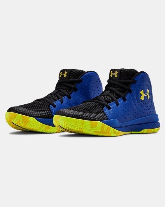 Grade School UA Jet 2019 Basketball Shoes, Blue, pdpMainDesktop image number 3