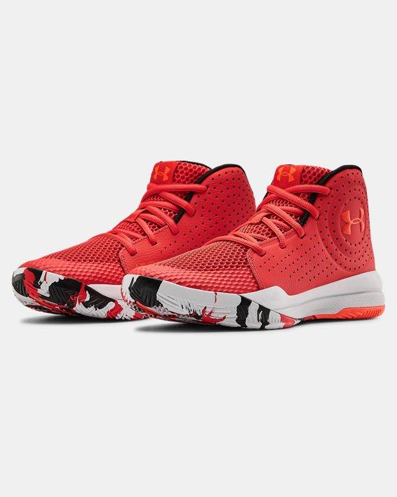 Grade School UA Jet 2019 Basketball Shoes, Red, pdpMainDesktop image number 3
