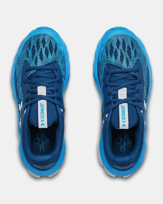 Boys' Grade School UA Charged Scramjet 3 Running Shoes, Blue, pdpMainDesktop image number 3