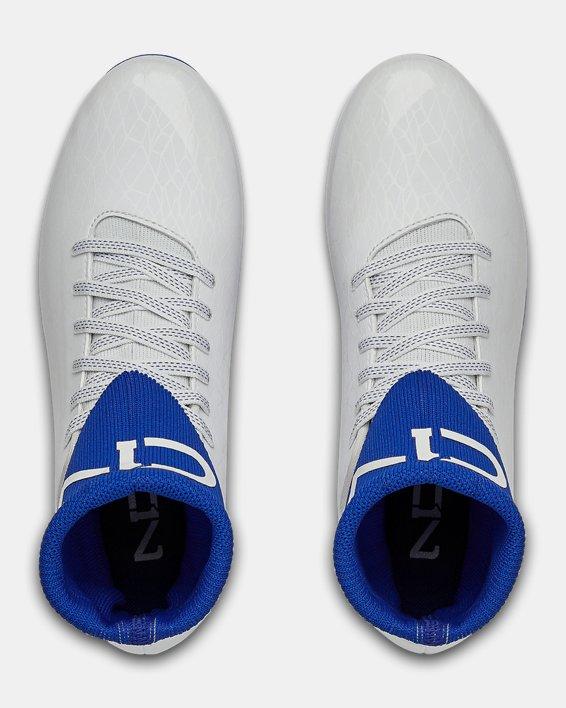 Boys' UA C1N MC Jr. Football Cleats, White, pdpMainDesktop image number 3