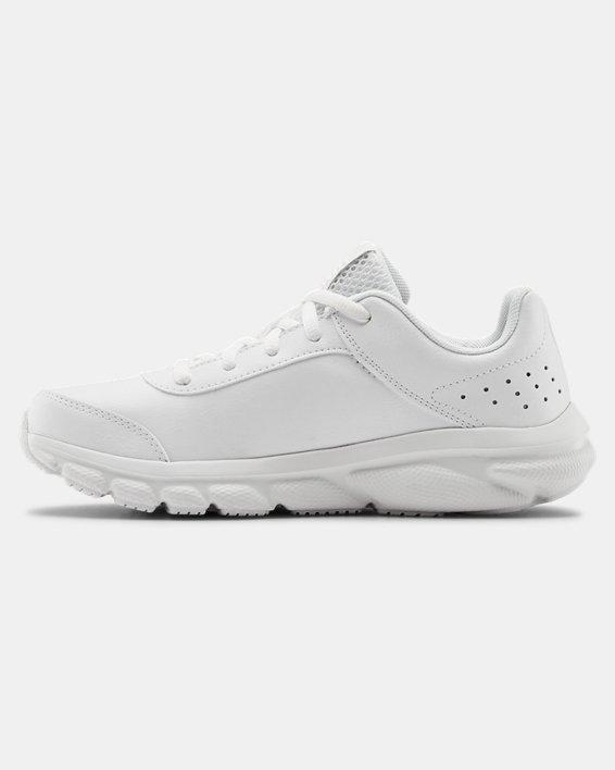 Grade School UA Assert 8 Uniform Synthetic Running Shoes, White, pdpMainDesktop image number 1