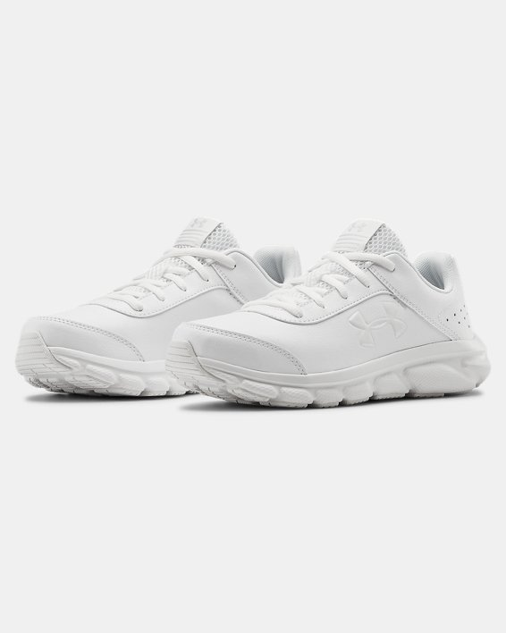 Grade School UA Assert 8 Uniform Synthetic Running Shoes, White, pdpMainDesktop image number 3