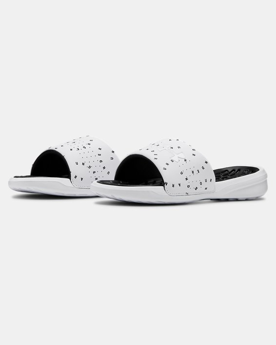 Women's UA Playmaker Micro Slides, White, pdpMainDesktop image number 4