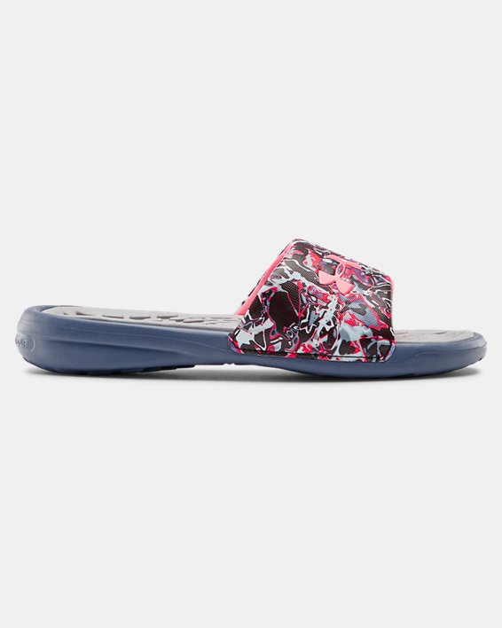 Girls' UA Playmaker Chroma Slides, Gray, pdpMainDesktop image number 0