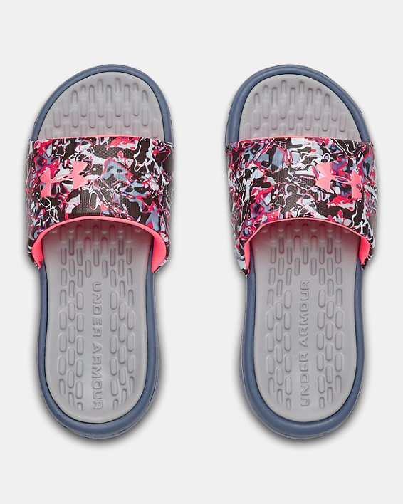 Girls' UA Playmaker Chroma Slides, Gray, pdpMainDesktop image number 3