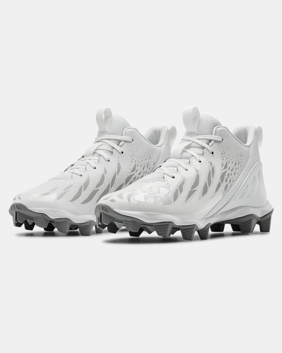 Boys' UA Spotlight Franchise RM Jr. Football Cleats, White, pdpMainDesktop image number 4