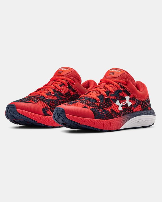 Grade School UA Charged Bandit 5 Camo Running Shoes, Red, pdpMainDesktop image number 4
