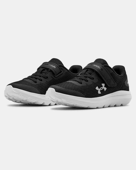 Pre-School UA Surge 2 AC Running Shoes, Black, pdpMainDesktop image number 3