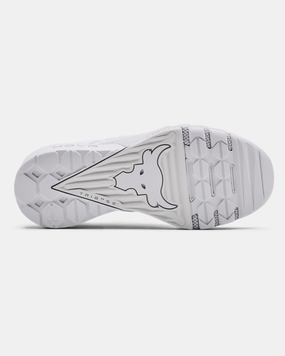 Women's UA Project Rock 3 Training Shoes, White, pdpMainDesktop image number 4