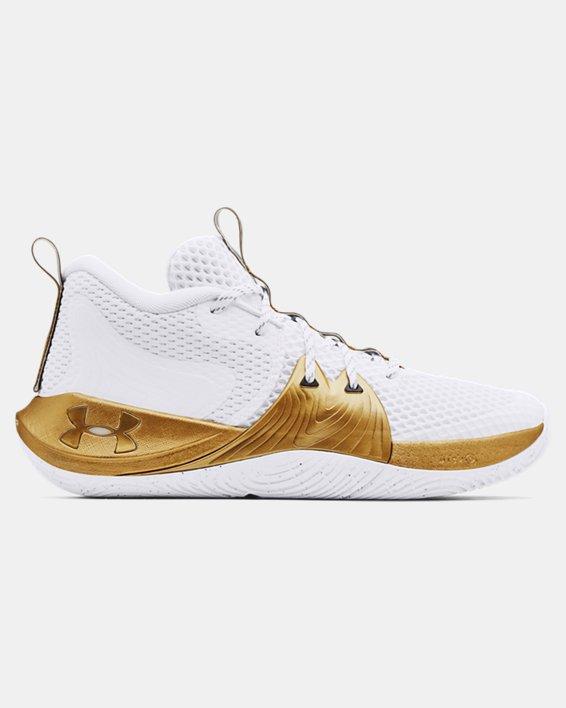 Unisex UA Embiid One Basketball Shoes, White, pdpMainDesktop image number 0