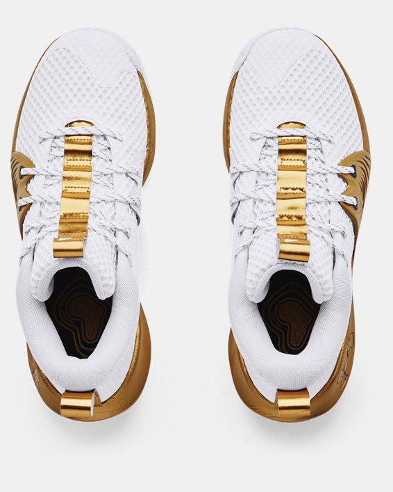 Unisex UA Embiid One Basketball Shoes, White, pdpMainDesktop image number 2