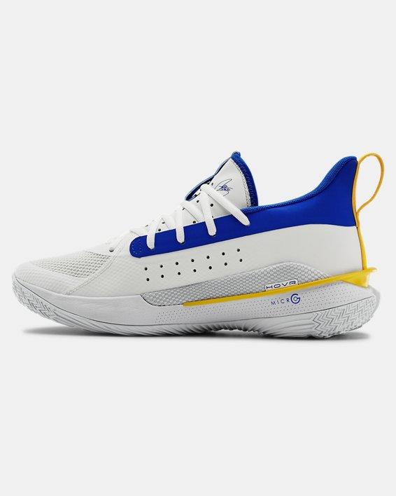 Adult UA Curry 7 TB Basketball Shoes, White, pdpMainDesktop image number 1