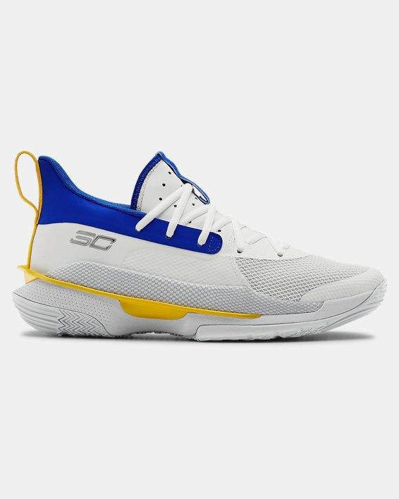 Adult UA Curry 7 TB Basketball Shoes, White, pdpMainDesktop image number 0