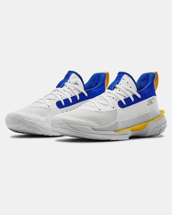 Adult UA Curry 7 TB Basketball Shoes, White, pdpMainDesktop image number 4