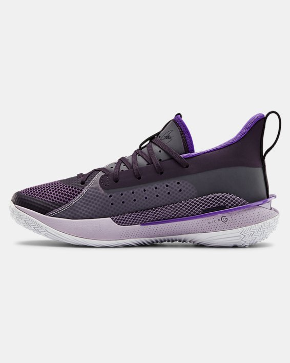 Grade School UA Curry 7 IWD Basketball Shoes, Purple, pdpMainDesktop image number 1