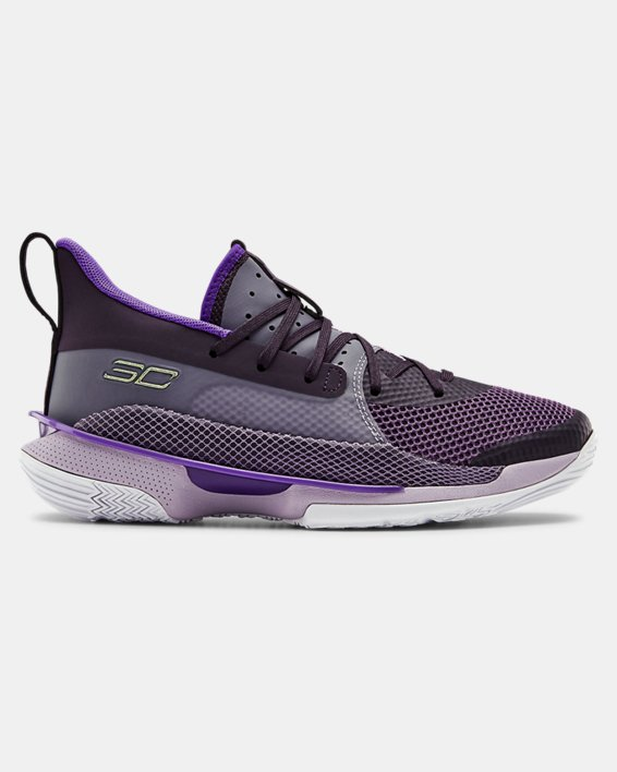 Grade School UA Curry 7 IWD Basketball Shoes, Purple, pdpMainDesktop image number 0