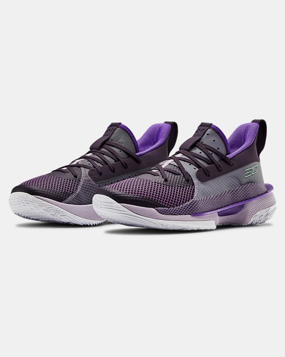 Grade School UA Curry 7 IWD Basketball Shoes, Purple, pdpMainDesktop image number 4