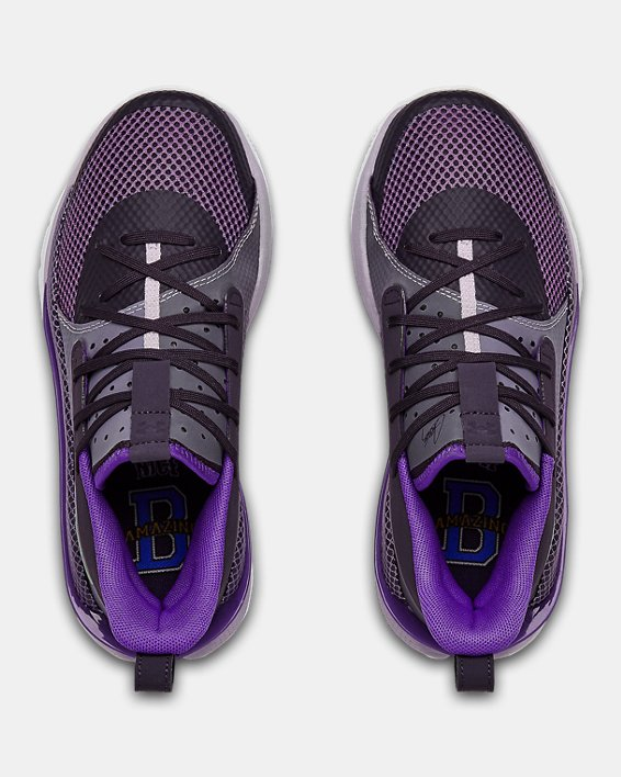 Grade School UA Curry 7 IWD Basketball Shoes, Purple, pdpMainDesktop image number 3