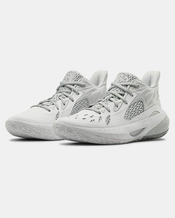 Women's UA HOVR™ Havoc 3 Basketball Shoes, White, pdpMainDesktop image number 4