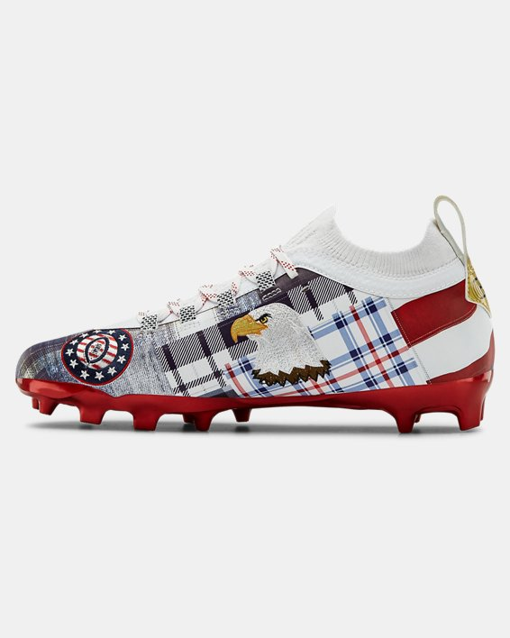 Men's UA Spotlight Lux LE Americana Football Cleats, Red, pdpMainDesktop image number 1