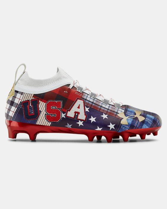 Men's UA Spotlight Lux LE Americana Football Cleats, Red, pdpMainDesktop image number 0