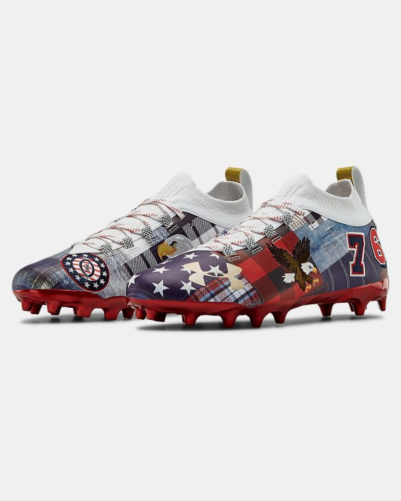 Men's UA Spotlight Lux LE Americana Football Cleats, Red, pdpMainDesktop image number 4