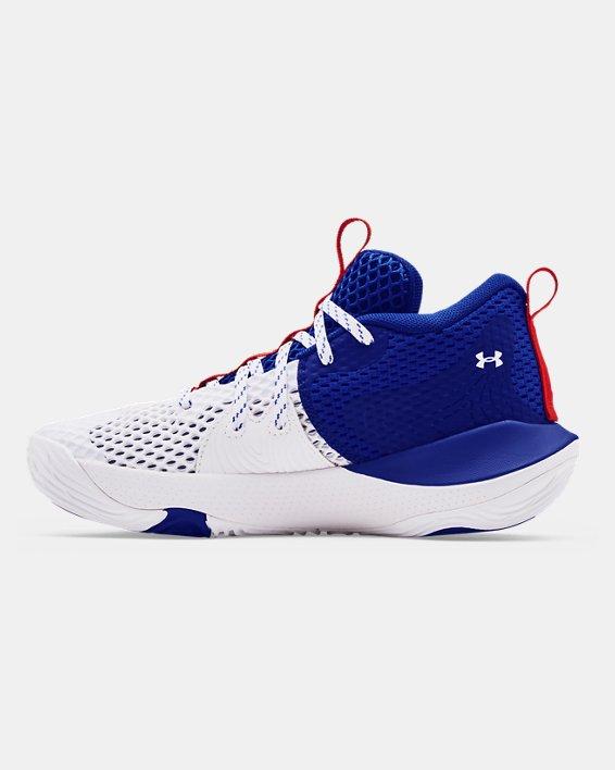 Grade School UA Embiid One Basketball Shoes, White, pdpMainDesktop image number 1