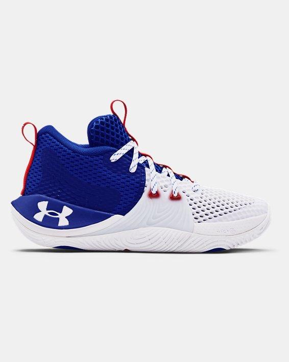 Grade School UA Embiid One Basketball Shoes, White, pdpMainDesktop image number 0